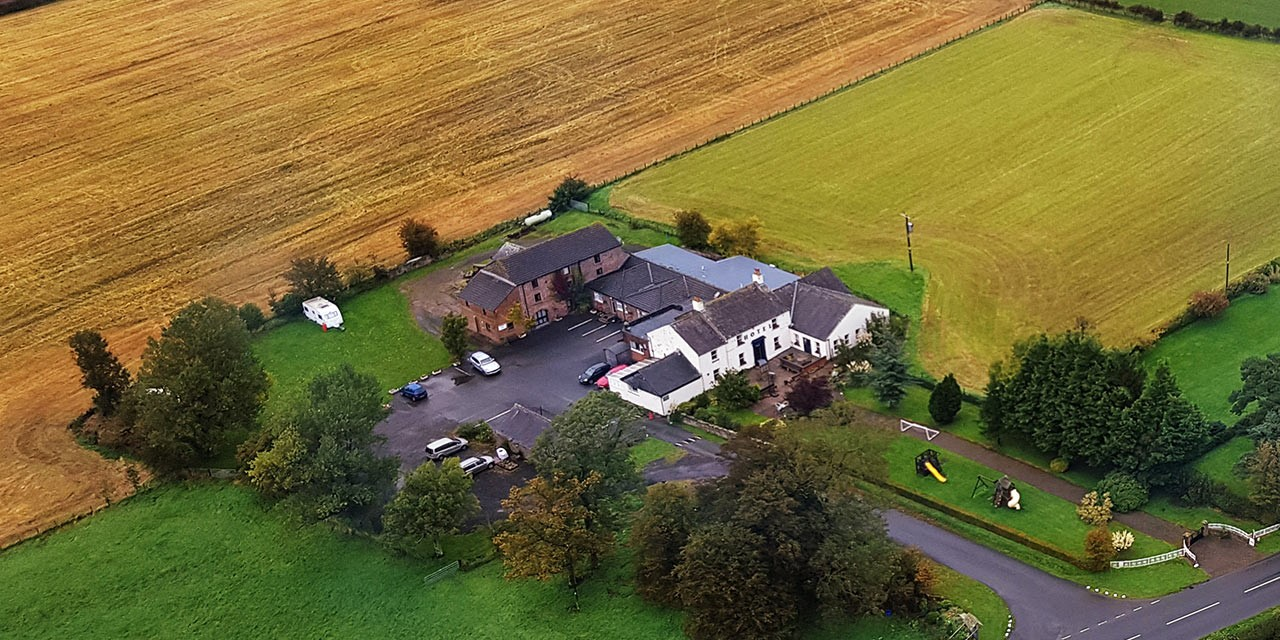 A view of Wheyrigg Hall Hotel from the air