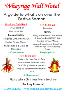 Wheyrigg Hall Hotel Christmas Flyer 2018